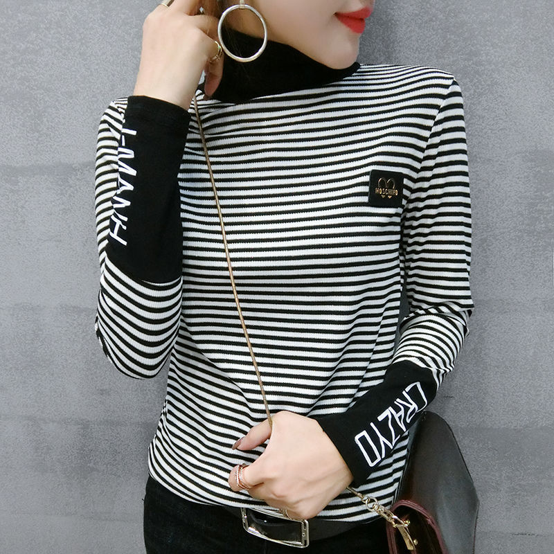 Turtleneck Women Jumper Sweaters Streetwear Clothes Fashion Female Stripes Black White Stitching Letters Pullovers Knitted Tops