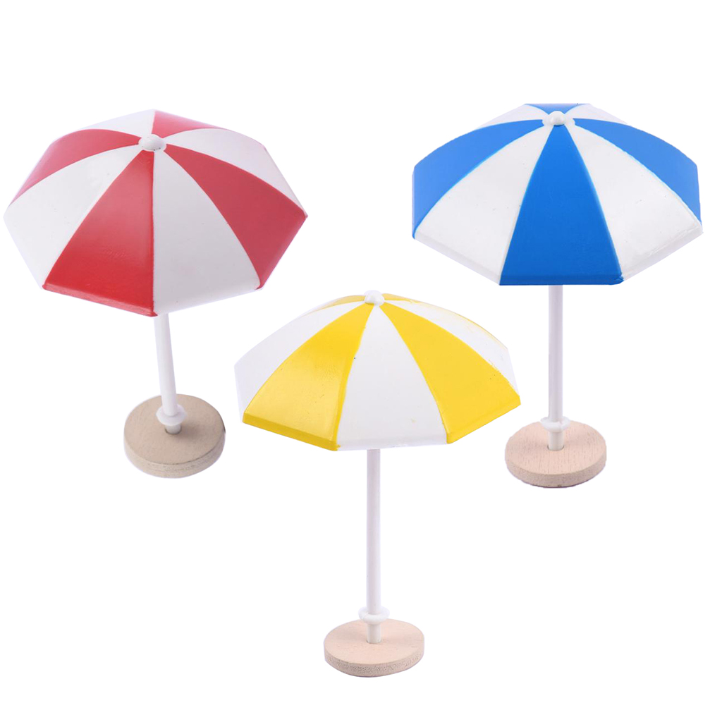 9 Pcs Beach Umbrella Model For 1/12 Dollhouse Plastic Umbrella Dollhouse Garden &cake Accessories Kids Pretend Play Toy Red Blue Beneficial To The Sperm Home
