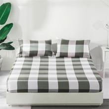 New Plaid Bed Mattress Cover Pink Black Elegant Mattress Protector Pad Fitted Sheet Soft Bed Linens with Elastic