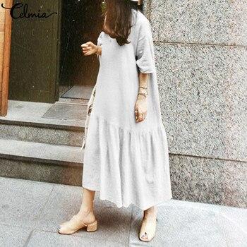 27dcac3ec Celmia Vintage de las mujeres vestido de camisa 2019 nuevo verano de manga  mitad Casual traje largo Maxi Vestidos vestido plisado Mujer Plus tamaño
