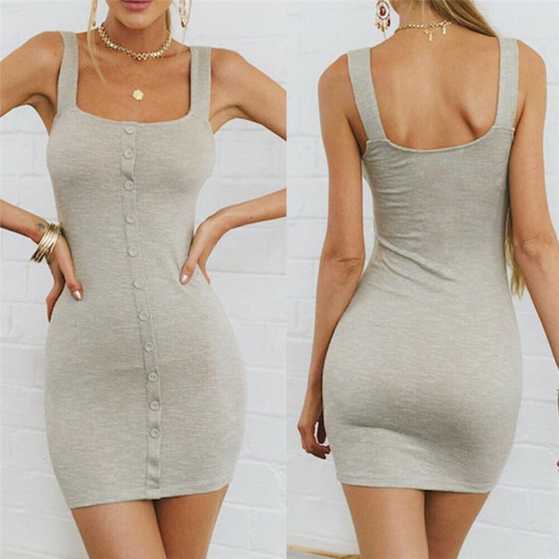 Hirigin 2019 New Summer Dress Sundress Sleeveless Casual Tight Dress Women Solid Color Bodycon Dresses Dresses Aliexpress