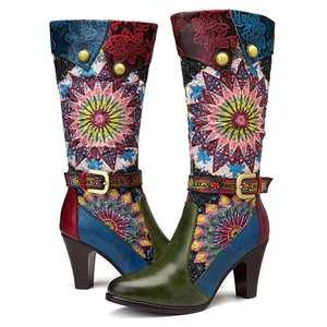 Image 4 - Socofy Retro Böhmischen Mitte wade Stiefel Frauen Schuhe Frau Echtem Leder Cowgirl Stiefel Vintage Zipper Block High Heels 2020