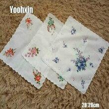 5pcs/lot Vintage flower Women Square lady Handkerchief white lace Printed children Cotton wedding hand towel hanky Random Colors
