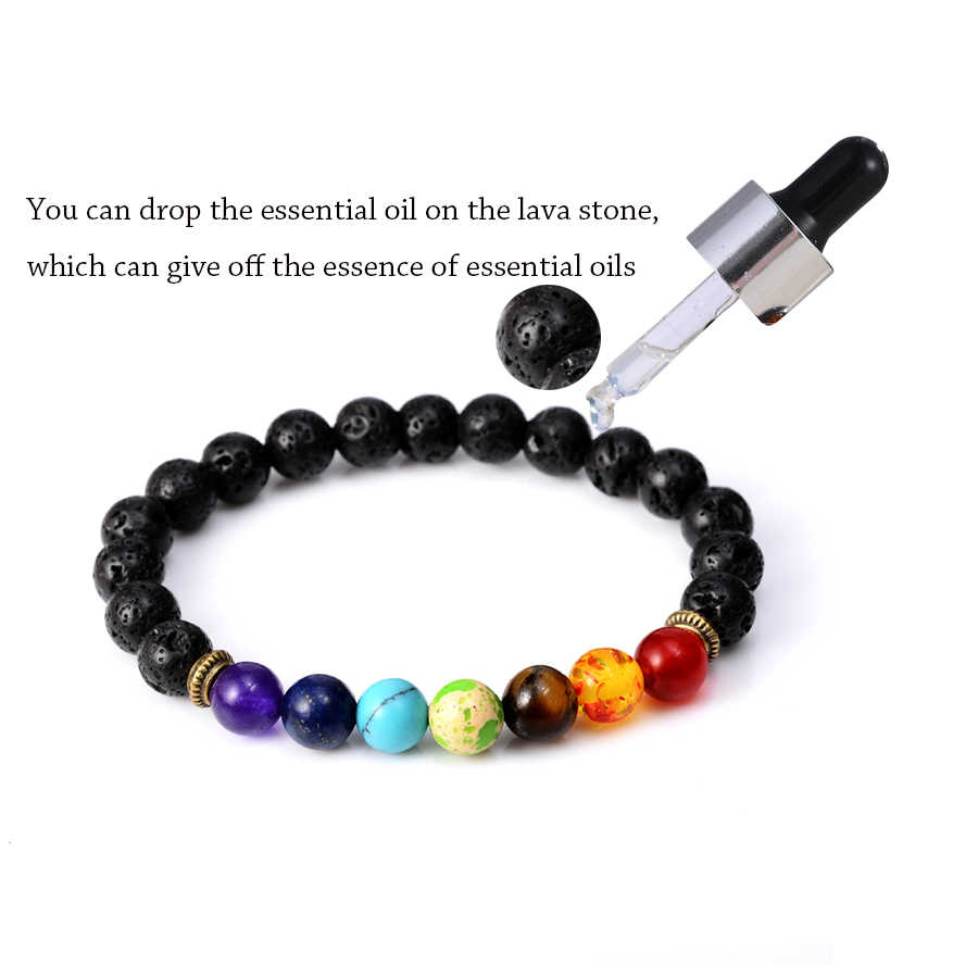 7 Chakra Bracelet Essential Oils Diffuser Lava Healing Balance Beads Reiki Buddha Natural Stone Yoga Lion Bracelet For Women Men