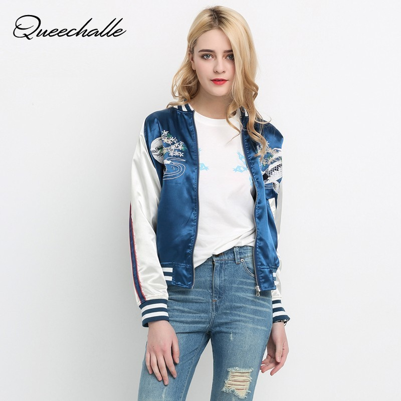 Queechalle Autumn   Basic     Jacket   Coat Blue Color Vintage Embroidery Loose Baseball   Jackets   Women Fashion Streetwear Coats