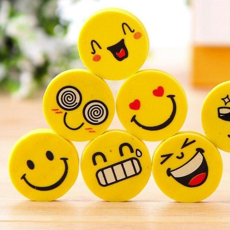 Cartoon Yellow Funny Expression Pencil Eraser Office Stationery School Supplies Eraser Set/ 4PCS