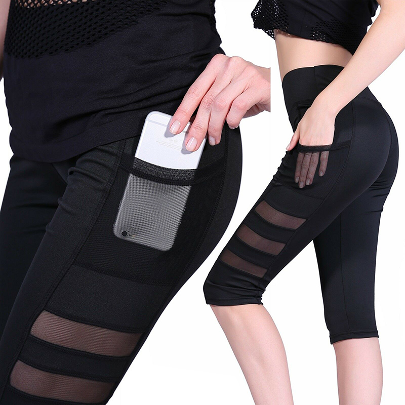 Women Calf-length Pant 2019 Women Sport Leggings Pant Woman Fitness High Waist Jogging Cropped Pants With Pocket Fitness Pants