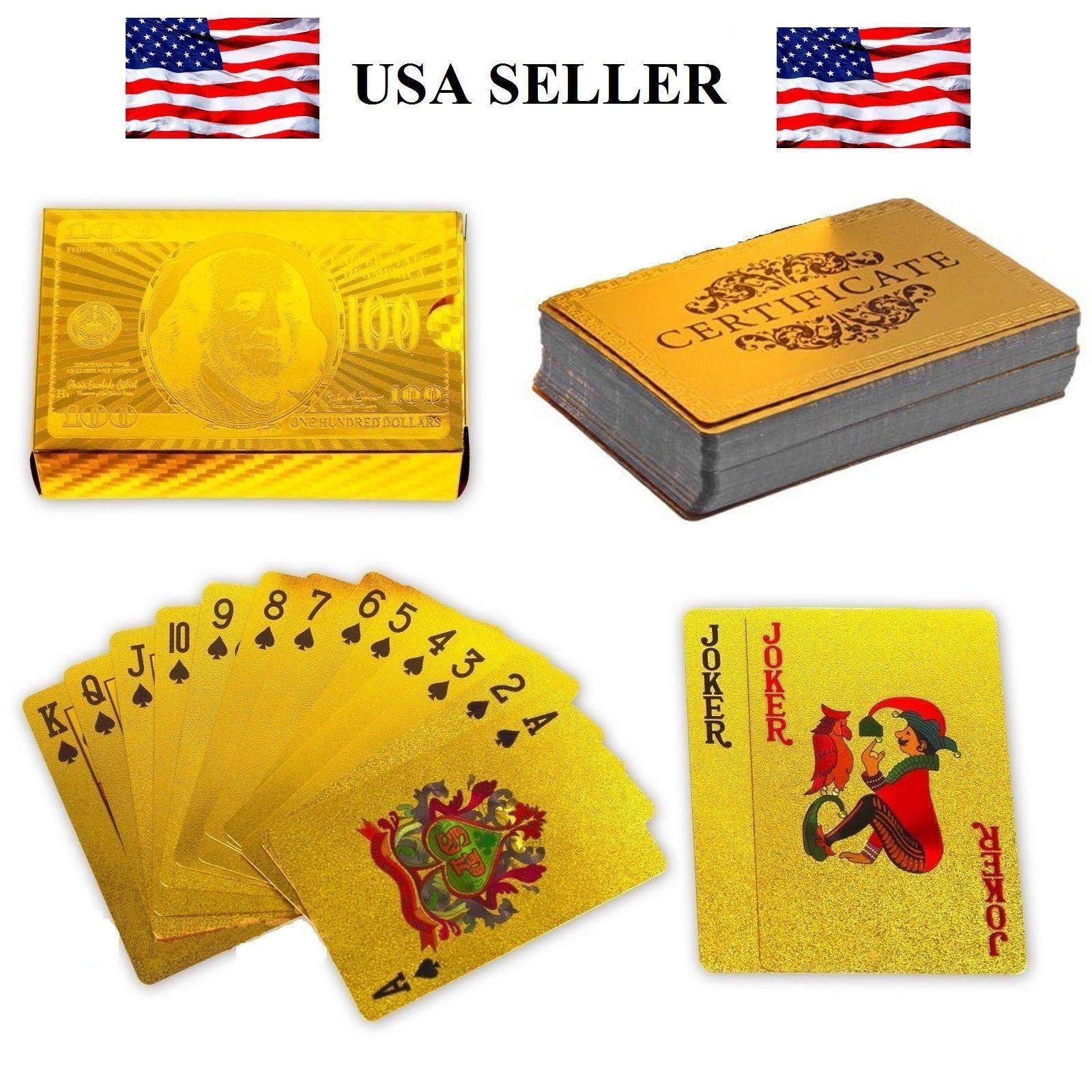 24 K Oro Carte Da Gioco Gioco Di Poker Deck Poker Lamina D'oro Set Di Plastica Carte Da Gioco Di Magia Magia Della Carta Impermeabile Bavaglio Pratiche Scherzi