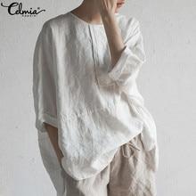 Loose Blouse Office-Shirts Linen Celmia Plus-Size Women Summer Bat-Sleeve Solid-Buttons