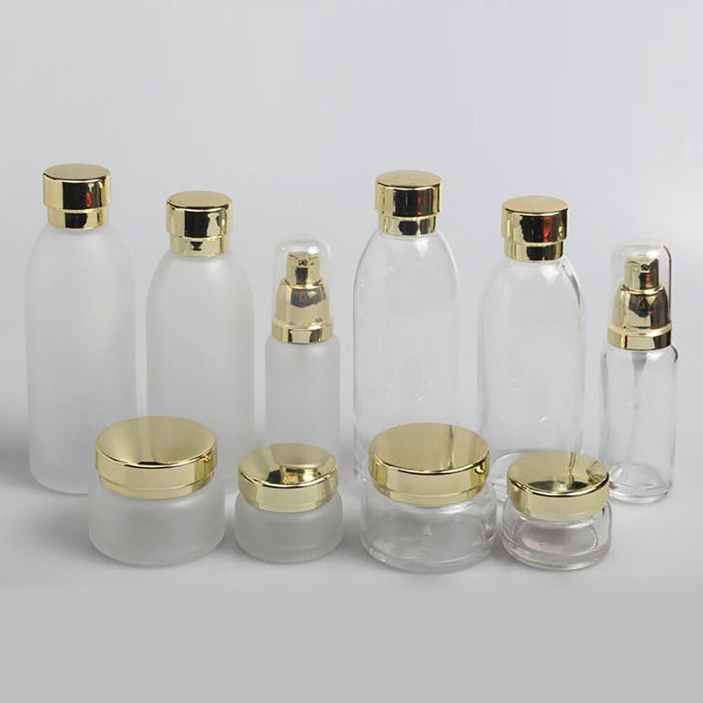 Luxury empty 120ml round refillable bottle serum glass bottle with screw cap, 4 oz. skincare glass toner/cream bottle glass bottle