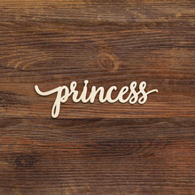 Laser Cut Princess Script Wooden Art Sign Multiple Sizes Unfinished Wood Cutout Shapes Girl Room Birthday Party Decoration