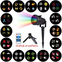 16 Patterns Merry Christmas Laser Snowflake Projector Outdoor LED Waterproof Disco Lights Yarn Garden Light Indoor Decoration