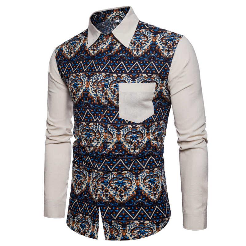 Honig Männer Hemd Langarm Fashion Floral Druck Männlichen Shirts Marke Kleidung Casual Shirt Mann Camisa Masculina M-5xl Bodys & Einteiler