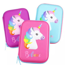 unicorn school pencil case kalem kutusu Cute animal estuche escolar EVA stationery pen case pencil box papelaria цена 2017