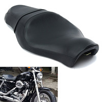 Autoleader Black Leather Motorcycle Driver Rear Passenger Seat Cushion Saddle Two up For Harley XL883N XL1200 2010 2016 Parts