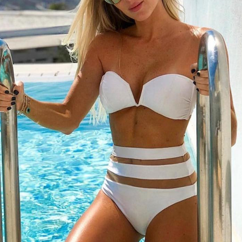 Peachtan High waist bikinis 2019 mujer Sexy mesh swimsuit women bathers biquini Push up swimsuit female V-neck beach wear summer 1