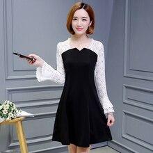 2019 Spring O-neck Lace Dresses Female Patchwork Casual Flare Sleeve Dress Women A-Line Mini Vestidos Plus Size 5XL цены