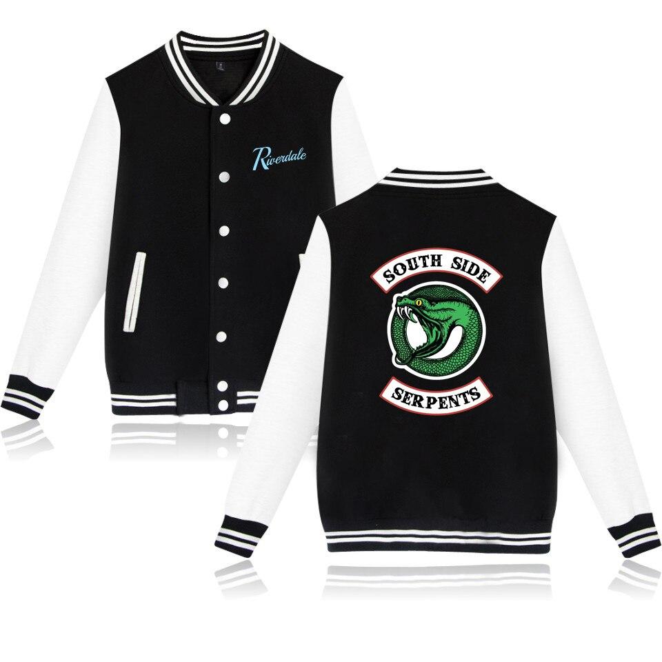 Riverdale Baseball Jacket Oversize V neck Winter Jacket Baseball Jacket Cool Outwear 2019 New Kpop Casual Jacket
