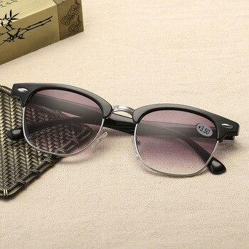 046aec483b Vintage lectura gafas de sol hombres mujeres medio diseño de marco de gafas  clásico ceja óptico dioptrías gafas + 1,0, 1,5, 2,0, 2,5, ...