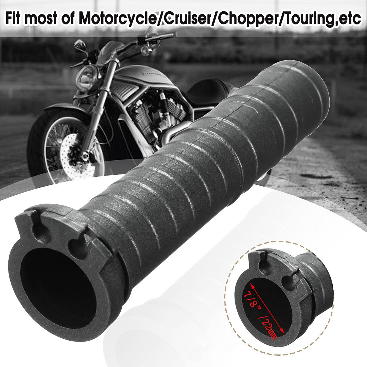 Universal 7/8 Inch Black Handlebar Hand Grip Dual Cable Throttle Tube Motorcycle Cruiser Chopper Cafe