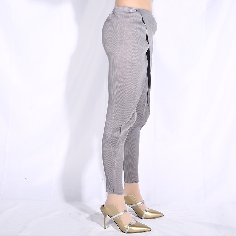 [EAM] 2019 New Autumn Winter High Elastic Waist Gray Cross Split Joint Loose Pleated Harem Pants Women Trousers Fashion JG013-in Pants & Capris from Women's Clothing    2