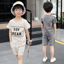 Children's clothing boy suit summer 2019 new cotton letter short-sleeved T-shirt + shorts 4-14 years baby clothes