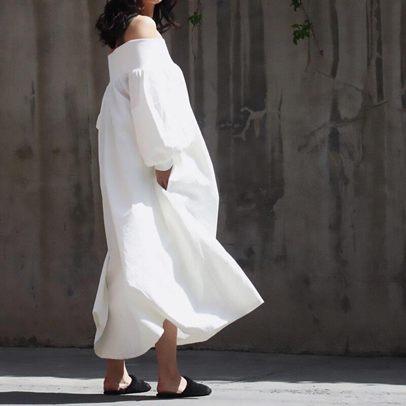 Deat 2020 Me Stesso Che Indossa Estate Slash Collo Manica Lunga Bianco Allentato di Grande Formato Lungo di Temperamento Delle Donne Del Vestito Fresco E Stange - 3