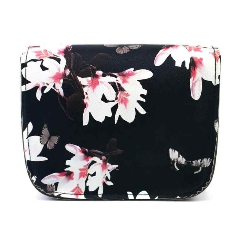 2018 Couro PU Saco Pequeno Ombro Mulheres Sacos de Design da Marca de Luxo Borboleta Flor Impresso Retro Flap Crossbody Bag