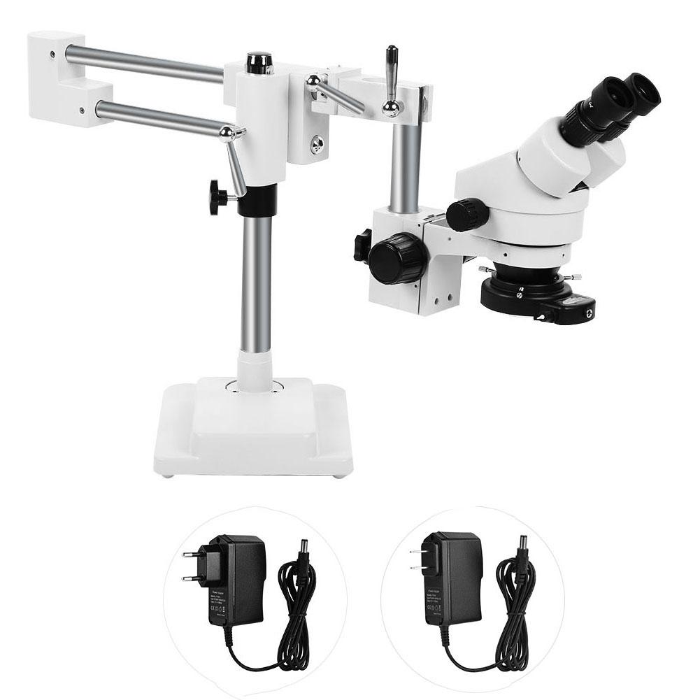 3.5X-90X Binocular Stereo Zoom Microscope on Dual Arm Stand with Ring Lamp 100-240V Mobile Phone Laptop Professional Reparing image
