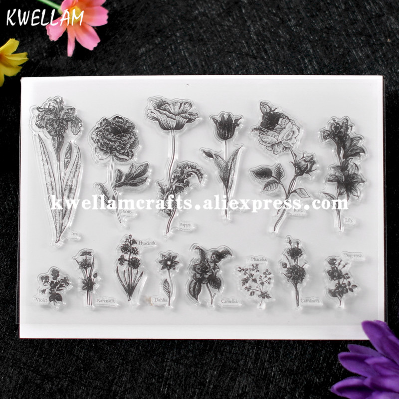 KWELLAM Bee Well Soon Flowers Honey Balloons Clear Stamps for Card Making Decoration and DIY Scrapbooking