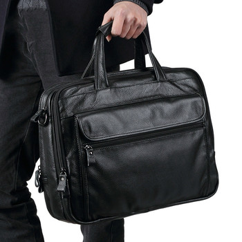 Genuine Leather Male Briefcase S663-40 Man Handbag Single Shoulder Satchel Messenger Bag 15 Inch Laptop Bag