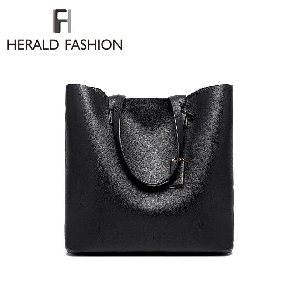 Herald אופנה יוקרתית נשים תיקי כתף PU עור קיבולת גדולה מקרית טוט גבוהה איכות משולבת Bolsas תיקי נשים