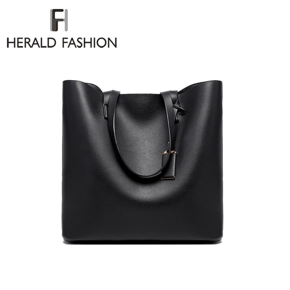 Herald Fashion Luxury Women Shoulder Bags PU Läder Stor Kapacitet Casual Tote Hög Kvalitet Bolsas Women Handväskor