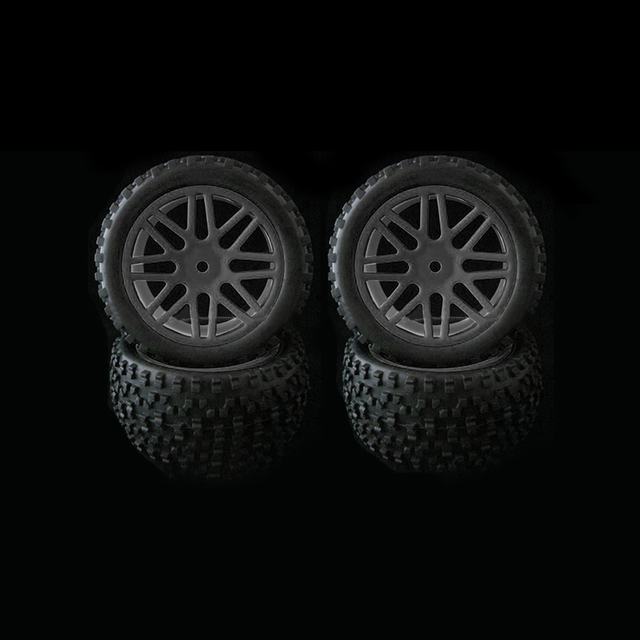4pcs Wheel Rim & Rubber Tyre Tires For RC 1/10 Off Road Car Buggy Replacement