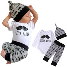 3 Pcs/Set Baby Clothing Beards Printed Long Sleeve Romper + Pants + Hat Newborn Infant Boy Girl Kid Outfit For 0-2 Years YJS Dro sino 2 axis dro digital readout with 2 pcs ka 300 linear scales complete dro kit for mill or lathe applications free shipping