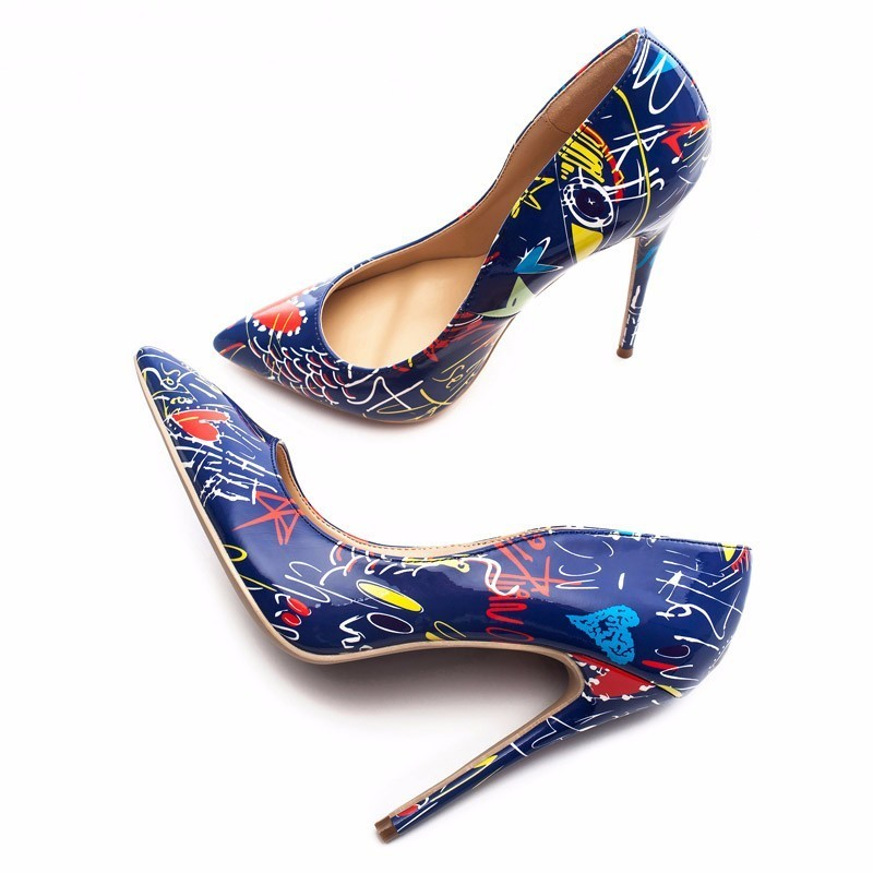 2018 Blue Graffiti Colorful Women Pumps Sexy Stiletto high heels Spring Wedding Party Women Shoes sapato feminino2018 Blue Graffiti Colorful Women Pumps Sexy Stiletto high heels Spring Wedding Party Women Shoes sapato feminino