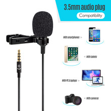 Micrófono con Clip solapa Lavalier micrófono omnidireccional con cancelación de ruido para teléfonos Cámara ordenador portátil para grabación de vídeo