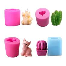 DIY Silicone Molds Fortune Cat Cute Kitten Cactus Plant Mold For Cake Decoration Chocolate Fondant Mould Candle Molds Clay Tools(China)