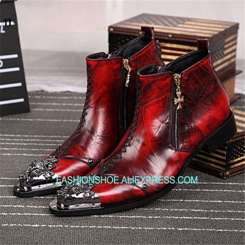 Leather Men Ankle Boots Metal Pointed Toe Mens Dress Shoes Rivet High Top Military Cowboy Boots Man Footwear handsome red genuine leather men ankle boots metal pointed toe mens wedding dress shoes high top botas hombre cowboy boots