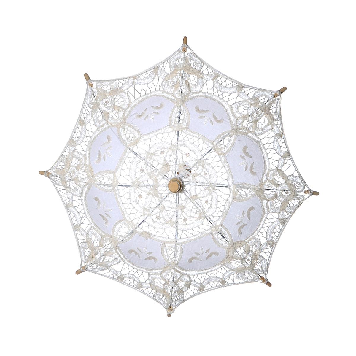 Image 3 - Bridal Wedding Umbrella Lace Cotton Embroidery Handmade Parasol Umbrella For Wedding Romantic Photo Props L Size 60cmBridal Umbrellas   -