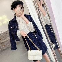 Winter Women's Navy Blue Tweed Jacket Pencil Skirt Suits Small Fragrant Golden Button Wool Two Piece Sets