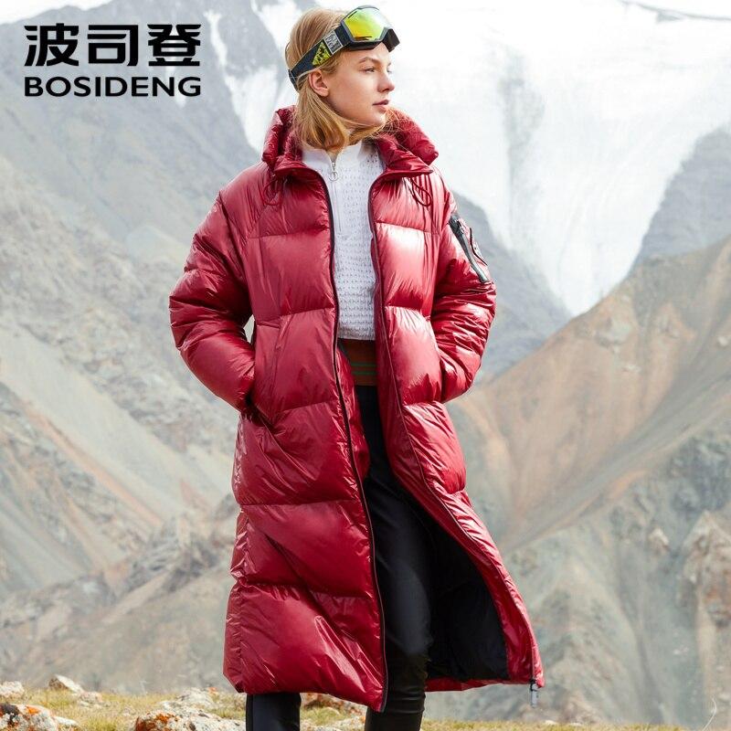 BOSIDENG bouffée collection femmes profonde hiver épaissir duvet d'oie veste X-Long down parka tissu enduit étanche B80141118