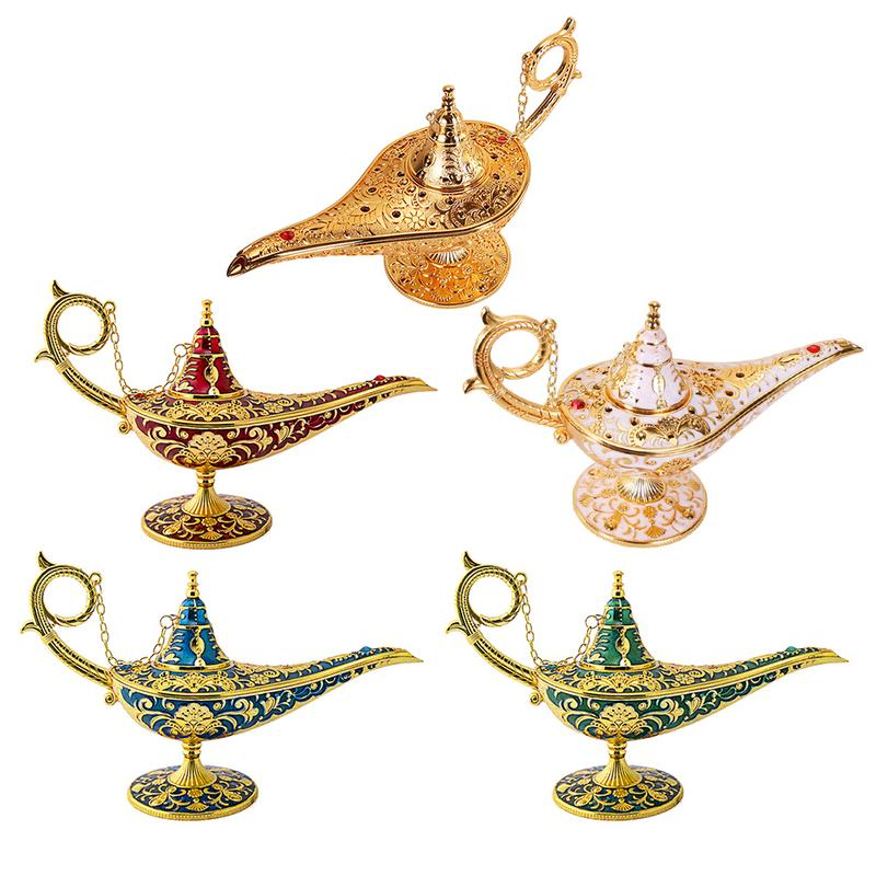 Metal Carving Aladdin Magic Lamp Retro Figurine Tin Alloy Decoration Save Collection Art Craft Gift Dropshipping
