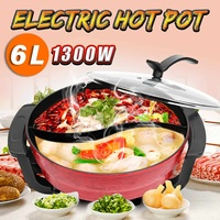 220V 1300W 6L Multifunctional Electric Hot Pot Twin Divided Mandarin Duck Electric Pot Cooker Non stick For Home 32cm Cookware