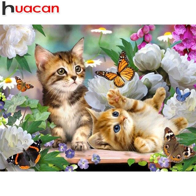 יהלומי פסיפס בעלי החיים יהלומי ציור מלא כיכר חתולים יהלומי רקמת צלב סטיץ פרחי תמונה של Rhinestones Handcraft