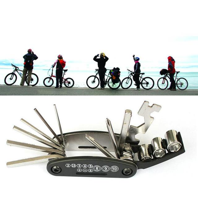 16 In 1 Carbon Steel Wrench Screwdriver Tools Bicycle Repairing Multifunction Tool Black Silver