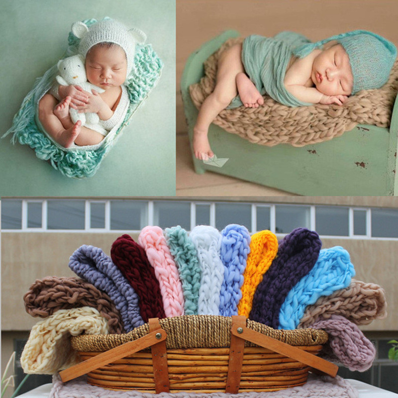 Newborn Photography Props Photography Blanket 55x55cm Woven Square Carpet Studio Baby Photo Props Blankets Cushion Accessories