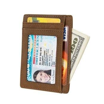 45d8b8514 Slim bolsillo frontal minimalista RFID bloqueo carteras de cuero para los  hombres de las mujeres de tamaño medio 739-60