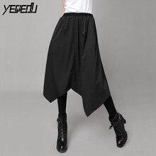 5217 en la primavera de 2018 negro falda de cintura alta Plus tamaño Hip  hop Harajuku falsa de dos piezas Pantalon grandes femm. 31f0f54e3796