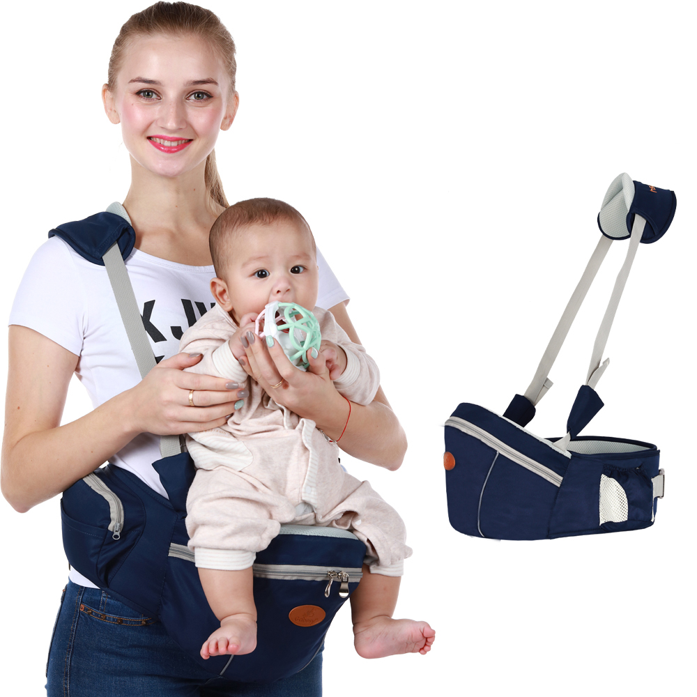 Infant Baby Backpack Carrier Adjustable 2-in-1 Waist Stool Hip Seat Waist Belt Breathable Baby Carrier Sling With Small Pocket